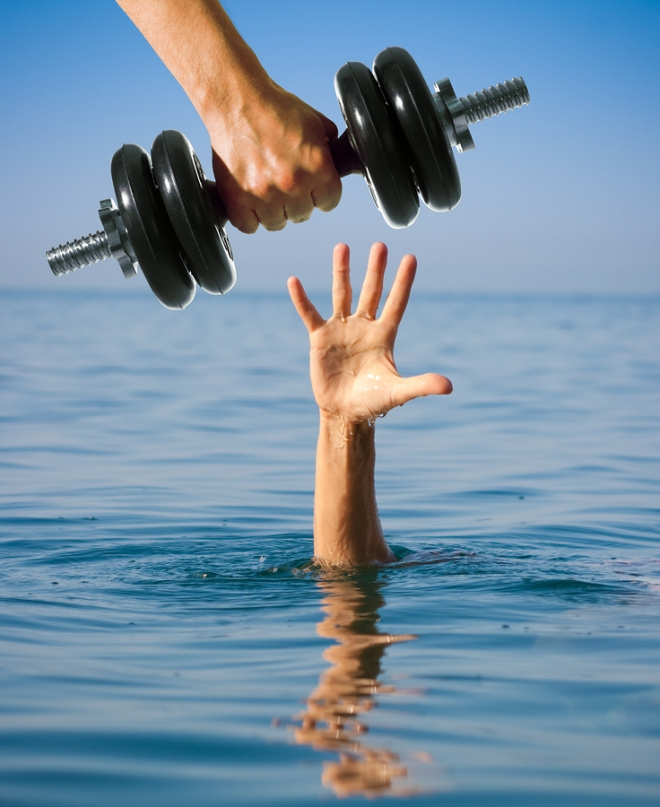 Giving dumbbell to sinking man instead of help. Making worse con